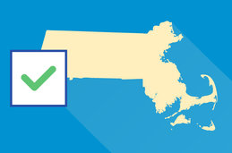 Graphic of the state of Massachusetts with a check mark.