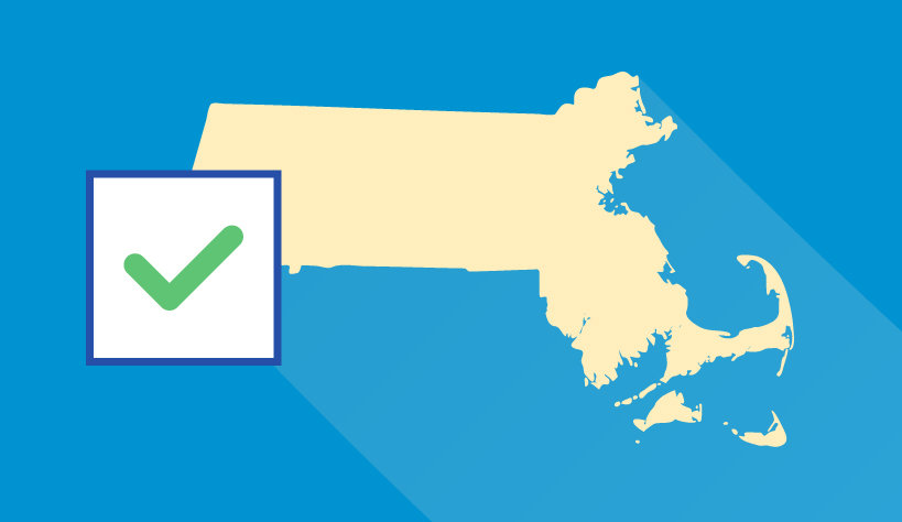 State of Massachusetts with a check mark