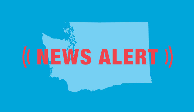 Graphic of Washington state with the words News Alert