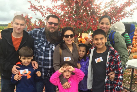 Photo of families at a pumpkin patch