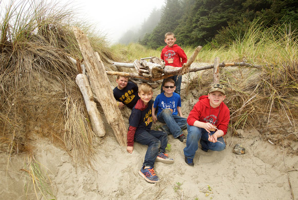 Photo of boys building a fort